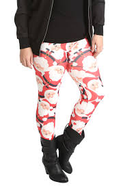 Womens Leggings Plus Size Ladies Pants Santa Christmas Hat Long