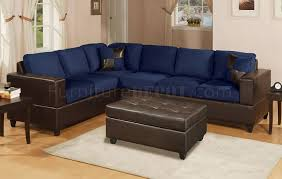 Navy Blue Leather Sectional Sofa Navy Microfiber Contemporary Sectional Sofa W Faux Leather Base