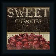 Fruit Decor For Kitchen Sweet Cherries Kitchen Décor Fruit Vintage Sign Framed Art Print