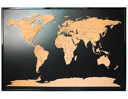Push Pin Map World Map Push Pin Corkboard With Countries Outlined Cork