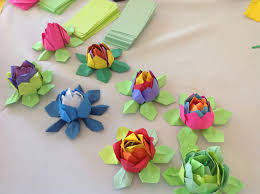 Lotus Blossom Origami - khandroling paper cooperative mindfulness origami program at