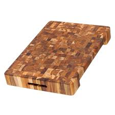proteak end grain cutting board with hand grip and bowl cut out