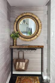 Small Entryway Design Entryway With Gold Mirror And Scalamandre Haiku Grasscloth