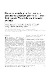 balanced matrix structure and new product development process at