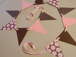 paper garland pink and brown baby shower decorations paper bunting