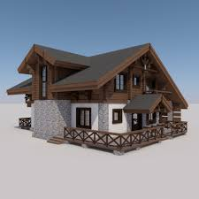 chalet houses european chalet houses 4 in 1 collection 3d model cgstudio