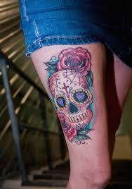 thigh sugar skull yeahtattoos com