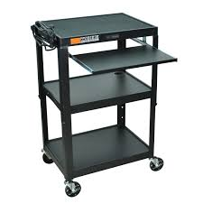 Rolling Stand Up Desk Mobile Stand Up Computer Desk Workstation Cart In Black Steel