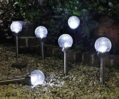 solar globe lights garden amazon com grand patio crackle glass globe solar path lights