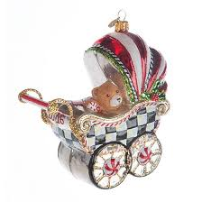 mackenzie childs glass ornament 2016 baby s pram