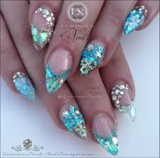 mermaid acrylic nails luminous nails pinterest mermaid