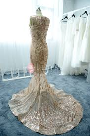 gold wedding dresses patterned shining chagne gold sequin mermaid see through