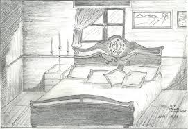 bedroom scene pencil shading bedroom
