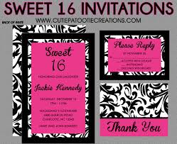 sweet 16 birthday invitations quinceanera invitation black