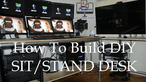 Stand Sit Desks by Ishare How To Build A Diy Sit Stand Desk 6 Monitor Setup Youtube