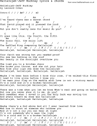 love song lyrics for hallelujah jeff buckley with chords music