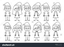 vector collection line art christmas holiday stock vector