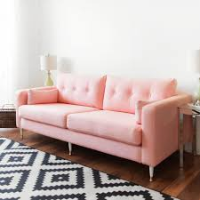 ikea hack karlstad pink mid century inspired sofa makeover
