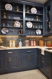 Charcoal Gray Kitchen Cabinets Charcoal Gray Kitchen Wood Island Brass Fixtures Hardware Via