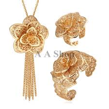 gold jewelry bracelet designs images S043 2015 new 18k real gold plated big flower jewelry set trendy jpg