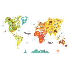 Fabric Wall Decals For Nursery World Map Wall Decal Stickers For Nursery Petit Collage