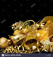 Black Metal Christmas Decorations by Gold Christmas Decorations Boxes Ribbons Stars Bells On Black