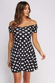 polka dot off shoulder skater dress black white just 5