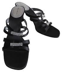 black sandals bandolino new strappy rhinestone open toe heels size 8 5 black
