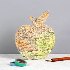 personalised map teachers gift apple ornament by bombus