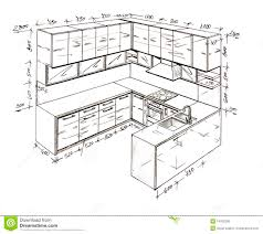 modern interior design kitchen freehand drawing stock photography