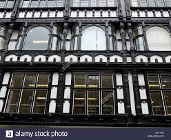 detail of black and white tudor building in king street manchester