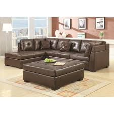 Tufted Living Room Set Furniture Brown Tufted Leather Sectional Sofa For Luxury Living