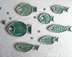ceramic fish platter fish shaped plates etsy