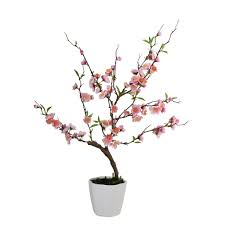 pink artificial ming cherry blossom tree in pot