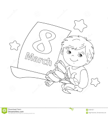 coloring page outline of boy with flowers with calendar march 8