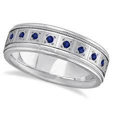 mens 14k white gold wedding bands blue sapphire ring for men wedding band 14k white gold 0 80ct
