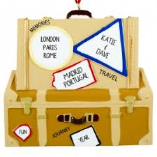 travel in europe suitcase ornament personalized