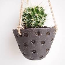 Handmade Black Pottery Hanging Cactus Planter By Kabinshop