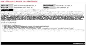 experienced hyperion consultant cover letter u0026 resume