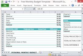 Free Excel Personal Budget Template Free Personal Monthly Budget Template For Excel