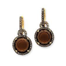 smoky quartz earrings 14k smokey quartz chagne diamond dangle earrings