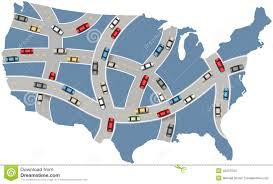 Usa Travel Map by Cars Travel Usa Highway Transportation Map Stock Vector Image