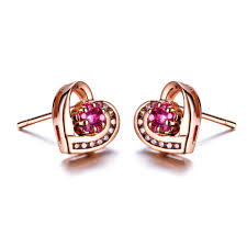 ruby stud earrings aliexpress buy zocai heart shape genuine ruby gemstone 0 17
