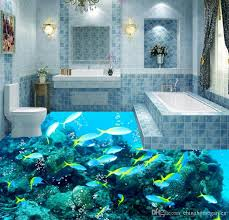 photo customize size 3d ocean tropical fish water pattern wave