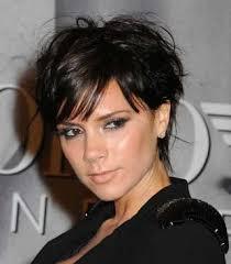 haircut for wispy hair victoria beckham short shag haircut on chocolate brown hair and