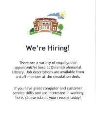 Library Job Resume by Dimmick Memorial Library We U0027re Hiring