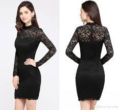 elegant black full lace mini short cocktail dresses 2018 new