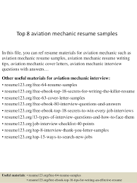 top 8 aviation mechanic resume samples 1 638 jpg cb u003d1437110144