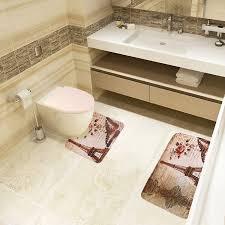 Eiffel Tower Accessories Amazon Com Jillban Eiffel Tower Flannel Mat Set Toilet Cover Set