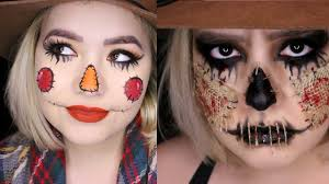 cute and scary scarecrow 2 part halloween makeup tutorial